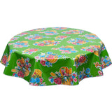 Flower Basket on Green Round oilcloth tablecloth