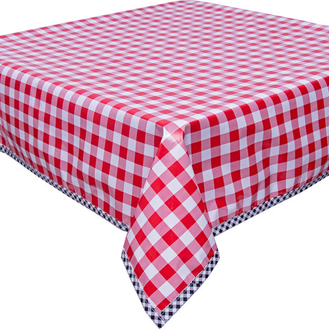 Freckled Sage Oilcloth Tablecloth Large Gingham Red with Black Gingham Trim