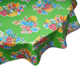 Round oilcloth tablecloth Flower Basket on Lime