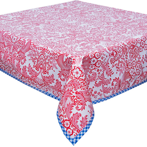 Freckled Sage Oilcloth Tablecloth Red Toile with Blue Gingham