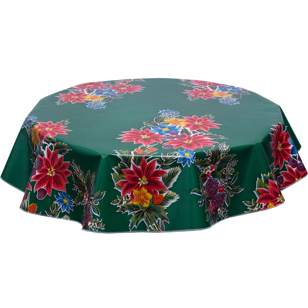 round Oilcloth tablecloth Christmas poinsettias on green