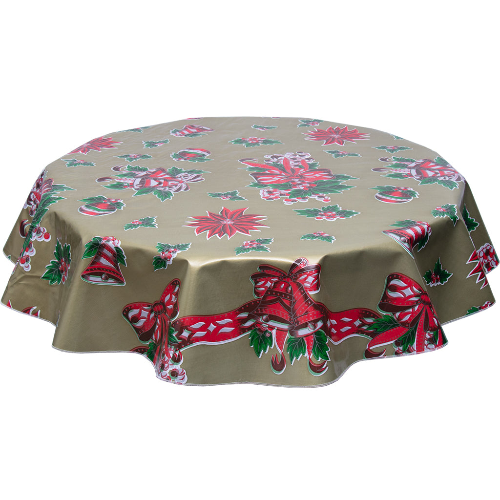 freckled sage christmas bells and bows on gold round tablecloth