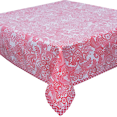 Freckled Sage Oilcloth Tablecloth Red Toile with Red Gingham Trim