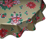 freckled sage round tablecloth christmas bells and bows on gold