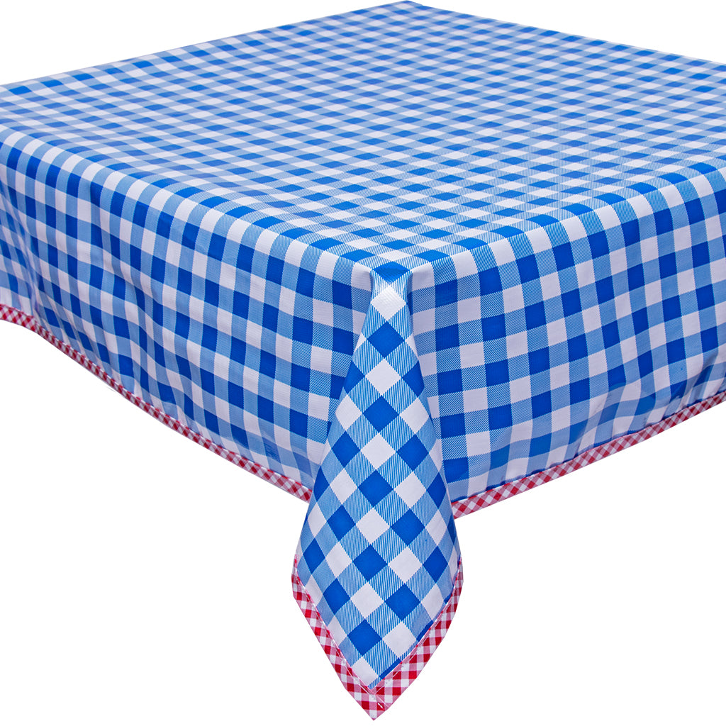 Freckled Sage Oilcloth Tablecloth Large Gingham Blue with Red Gingham Trim