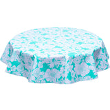 Round oilcloth tablecloth chelsea flowers on aqua