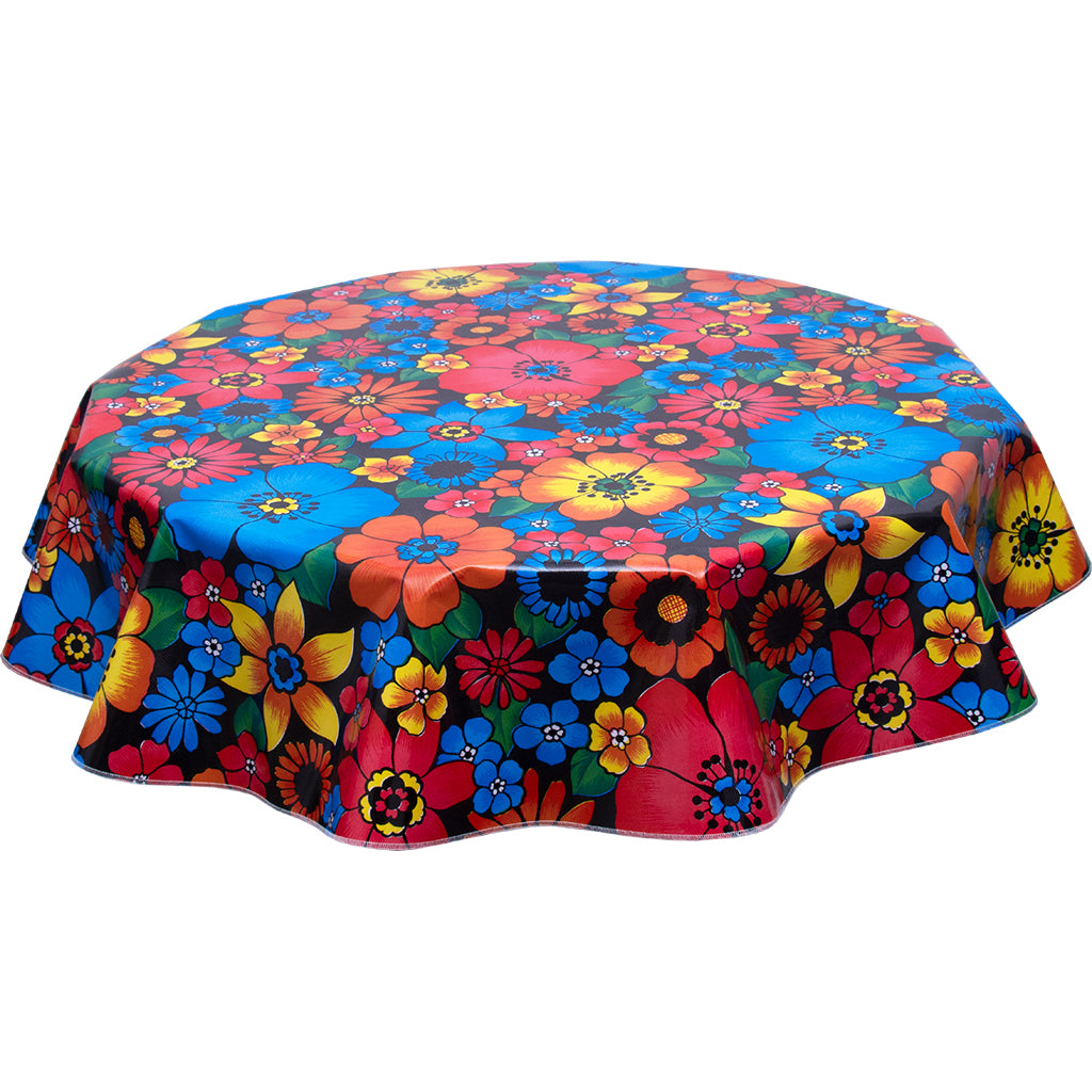 Round oilcloth tablecloth betty's bunch black