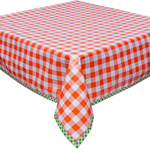 Freckled Sage Oilcloth Tablecloth Large Gingham Orange with Lime Gingham Trim