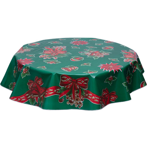 Christmas Bells and Bows on Green round oilcloth tablecloth