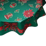 Round oilcloth tablecloth Christmas Bells and Bows on Green