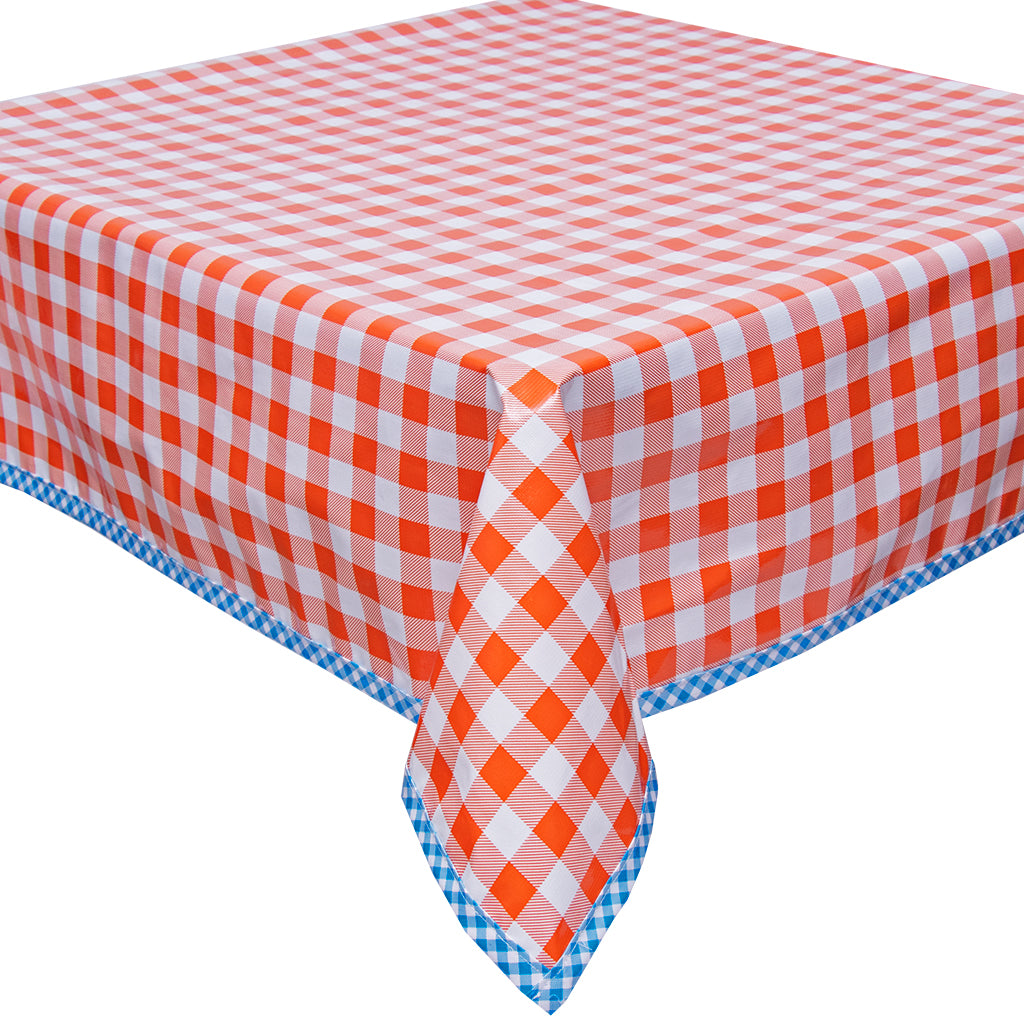 Freckled Sage Oilcloth Tablecloth Large Gingham Orange with Light Blue Gingham Trim