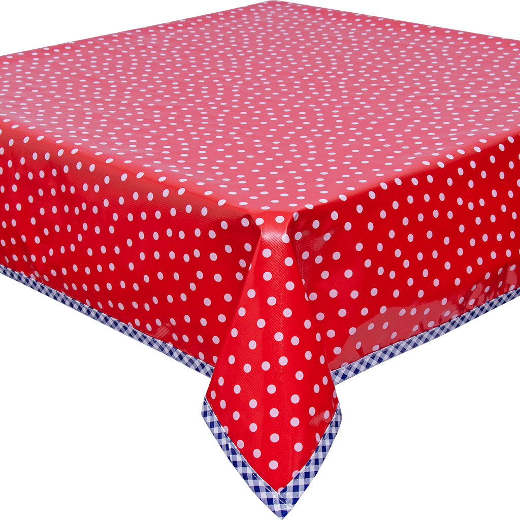 freckled sage white dot on red with navy gingham trim tablecloth