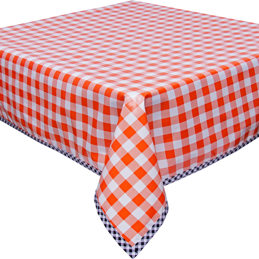 Freckled Sage Oilcloth Tablecloth Large Gingham Orange with Black Gingham Trim