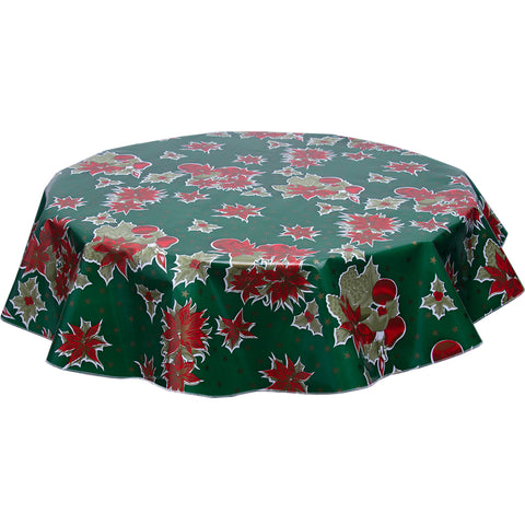 Christmas Stars on Green Round oilcloth tablecloth