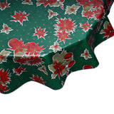 Round oilcloth tablecloth Christmas stars on green