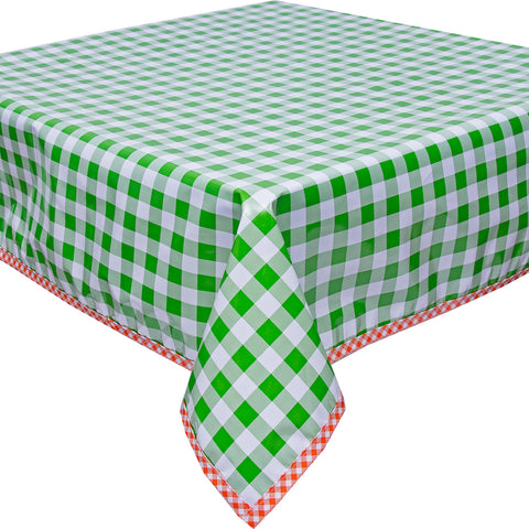 Freckled Sage Oilcloth Tablecloth Large Gingham Lime with Orange Gingham Trim