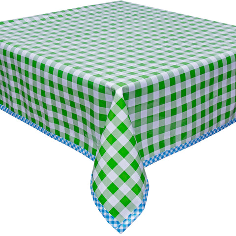 Freckled Sage Oilcloth Tablecloth Large Gingham Lime with Light Blue Gingham Trim