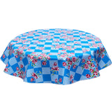Round Oilcloth Tablecloth Tulips on Blue