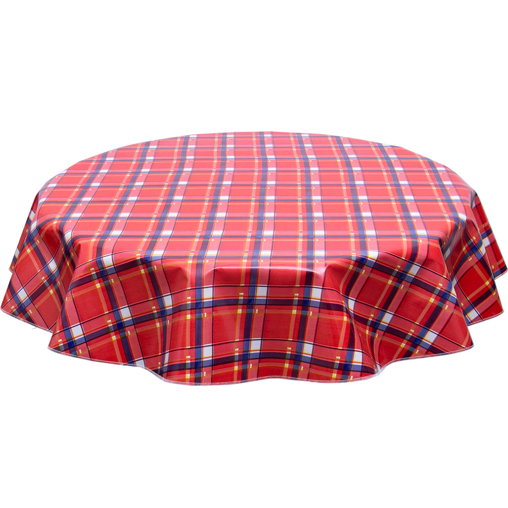FreckledSage.com Round Plaid Red Tablecloth