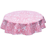 freckled sage round tablecloth pink toile