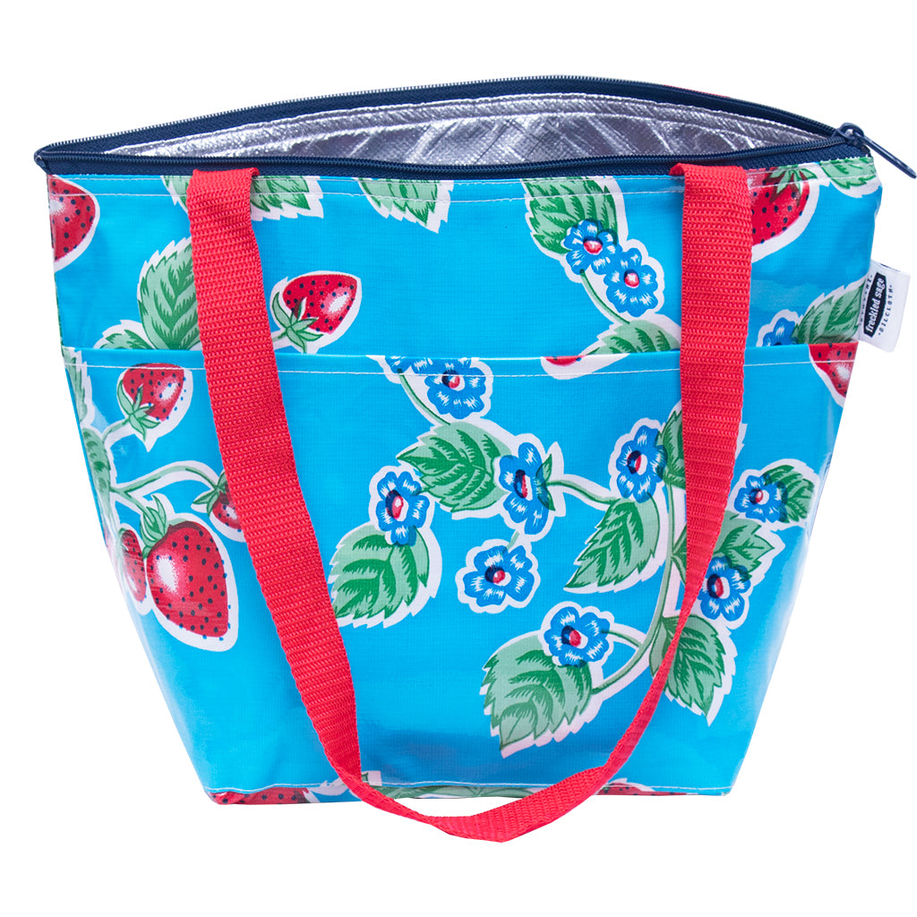 freckled sage insulated handbag strawberries on light blue