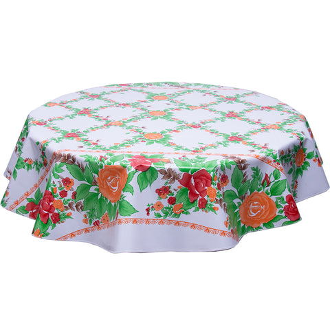 Round oilcloth tablecloth English Garden roses with orange hearts
