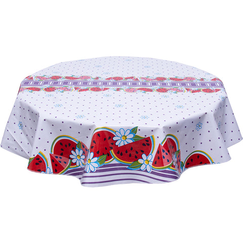 freckled sage round oilcloth tablecloth watermelon purple