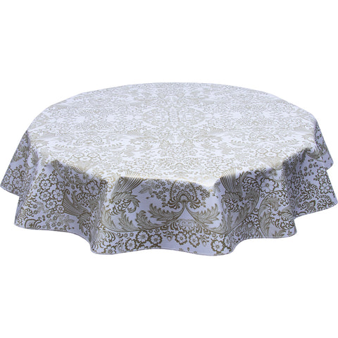 Round Oilcloth Tablecloth Gold Toile