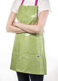 Freckled Sage Oilcloth Apron Gingham Lime
