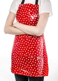 Freckled Sage Oilcloth Apron Dot White on Red