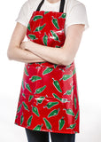 Freckled Sage Oilcloth Apron Jalapeños on Red