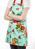Freckled Sage Oilcloth Apron Rose and Grid Aqua
