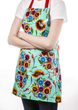 Freckled Sage Oilcloth Apron Bloom Aqua