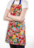 Freckled Sage Oilcloth Apron Fantasia Red