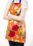 Freckled Sage Oilcloth Apron Mum Orange