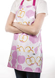 Freckled Sage Oilcloth Apron Mod Apple Pink