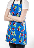 Freckled Sage Oilcloth Apron Cherry Blue