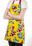 Freckled Sage Oilcloth Apron Strawberry Yellow