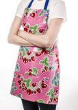 Freckled Sage Oilcloth Apron Strawberry Pink