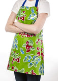Freckled Sage Oilcloth Apron Strawberry Green