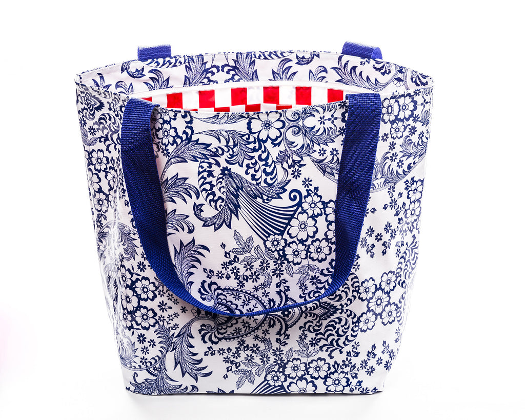Freckled Sage Oilcloth Zip Tote Toile Blue