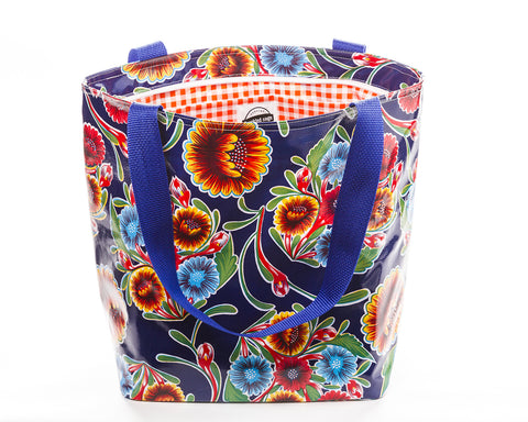 Freckled Sage Oilcloth Zip Tote Bloom Navy