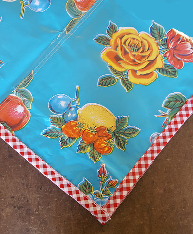 Oilcloth Tablecloths in Lemons and Roses Light Blue