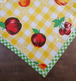 Slightly Imperfect Fruit and Gingham Yellow Oilcloth Tablecloths