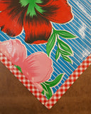 Slightly Imperfect 70x102 Big Flowers and Stripes Light Blue Oilcloth Tablecloth with Red Gingham Trim