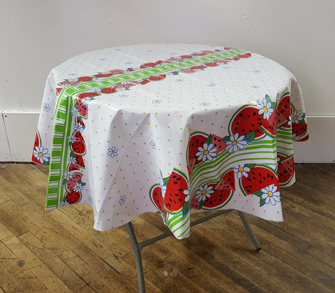 Slightly Imperfect Watermelon Lime Oilcloth Round Tablecloth