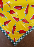 Slightly Imperfect 48 x 84  Chili Peppers on Yellow Oilcloth Tablecloths