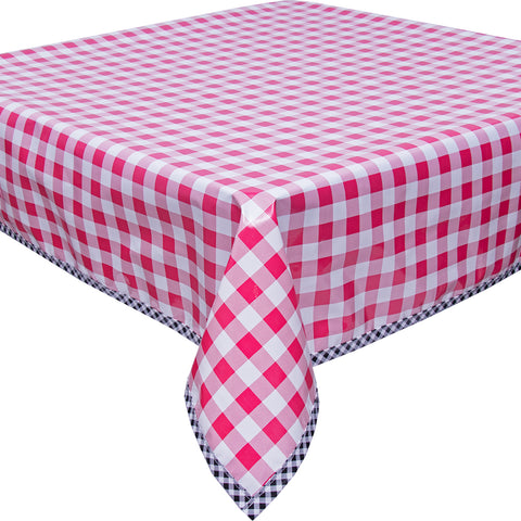 Freckled Sage Oilcloth Tablecloth Large Gingham Pink with Black Gingham Trim