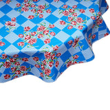 Round Oilcloth Tablecloth Red Tulips on Blue