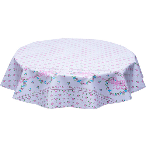 Round oilcloth Tablecloth tea Party pink